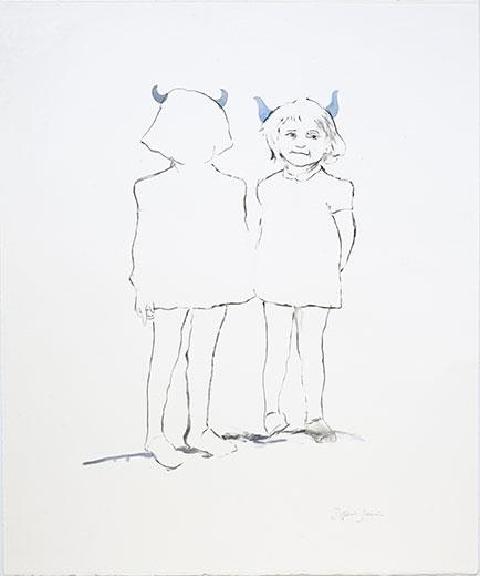 Jumelles au trait, cornes bleues grises